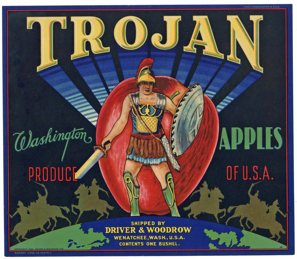 Trojan Brand Wenatchee Washington Apple Crate Label