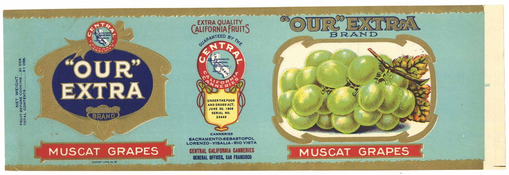 Our Extra Brand Vintage Muscat Grape Can Label