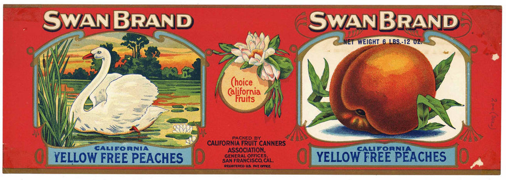 Swan Brand Vintage Yellow Free Peaches Can Label