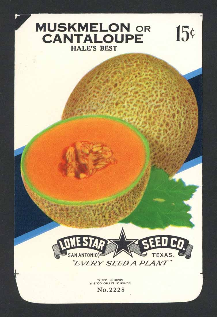 Muskmelon or Cantaloupe Vintage Lone Star Seed Packet, Hale's