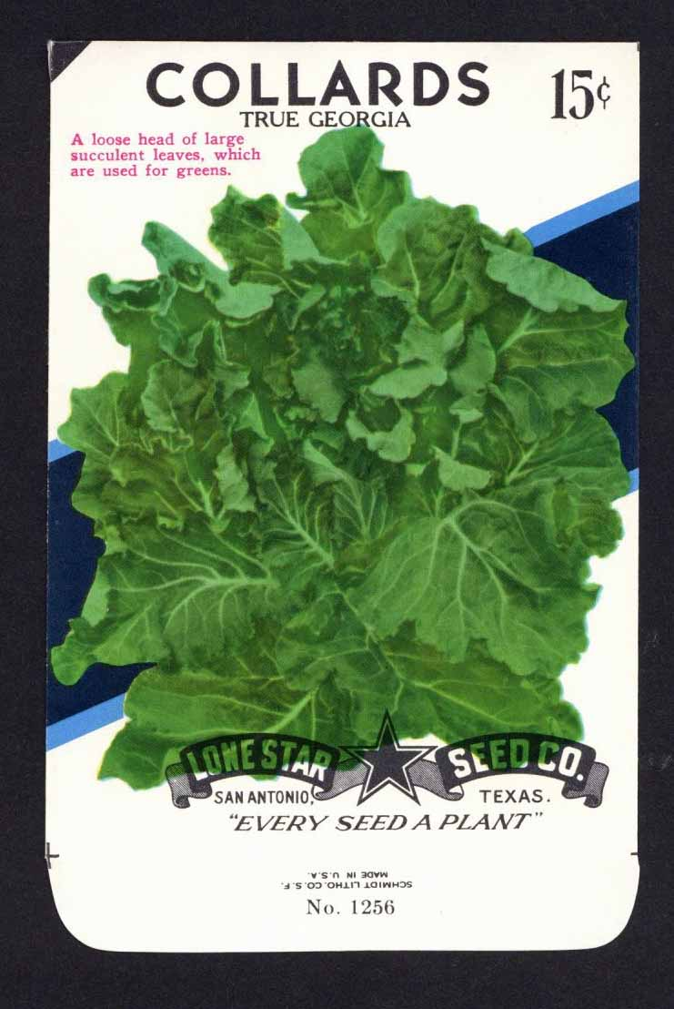 Collards Vintage Lone Star Seed Packet, True Georgia