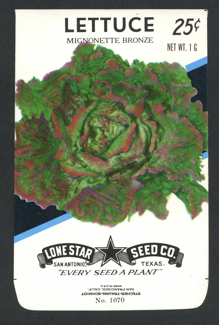 Lettuce Vintage Lone Star Seed Packet, Mignonette