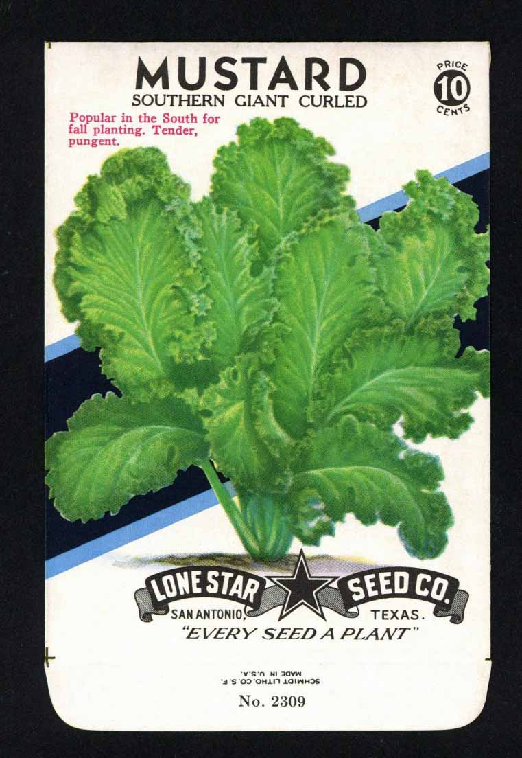 Mustard Vintage Lone Star Seed Packet, Southern