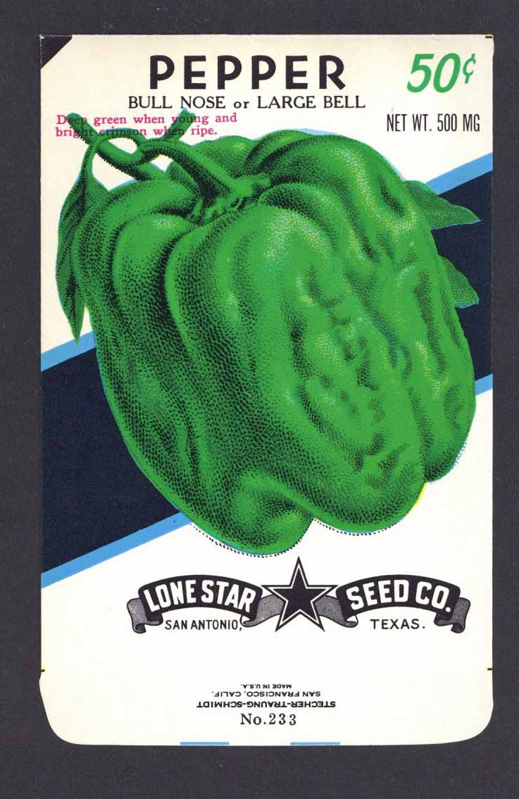 Pepper Vintage Lone Star Seed Packet, Bell