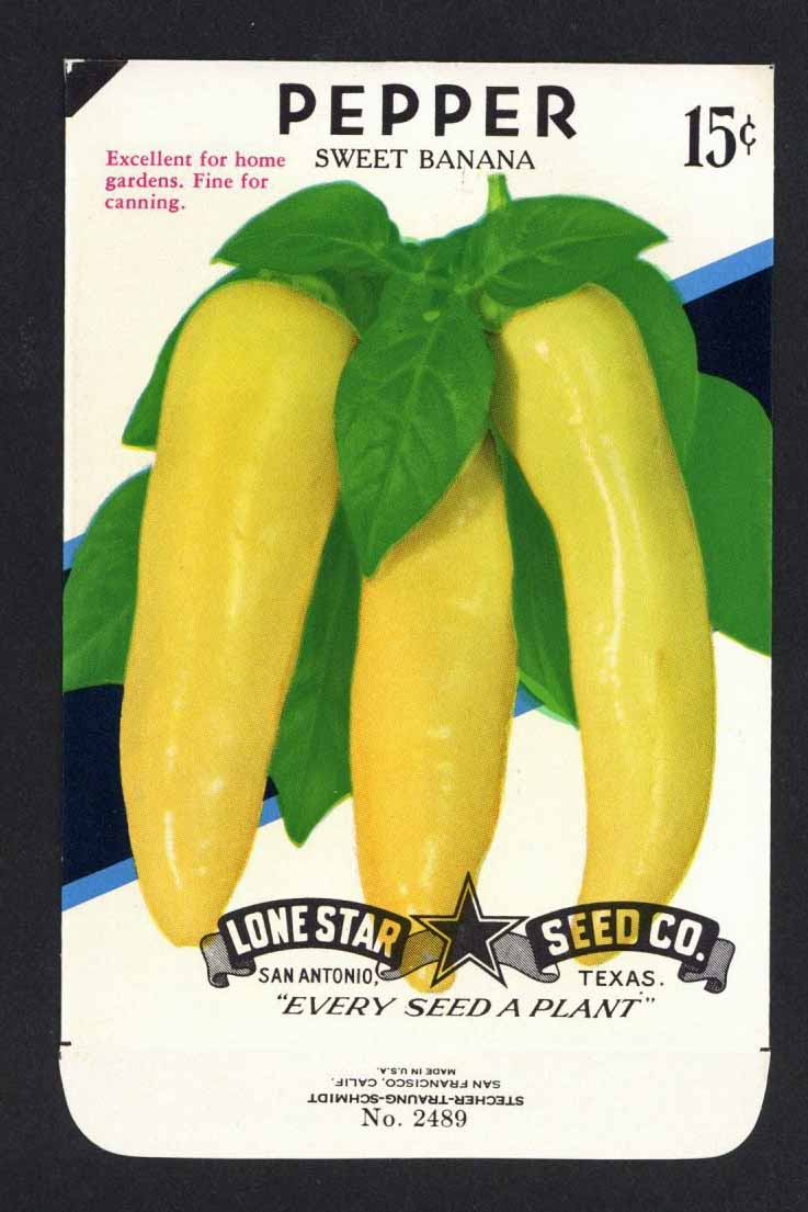 Pepper Vintage Lone Star Seed Packet, Sweet Banana