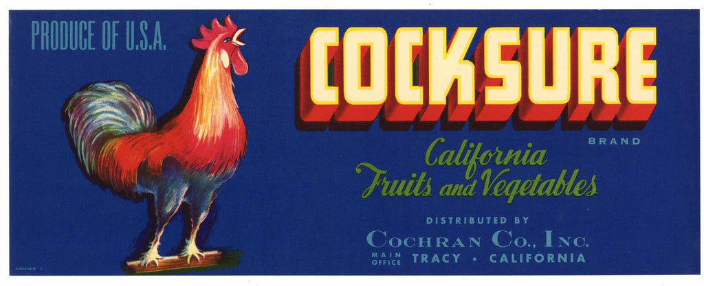 Cocksure Brand Vintage Tracy Vegetable Crate Label