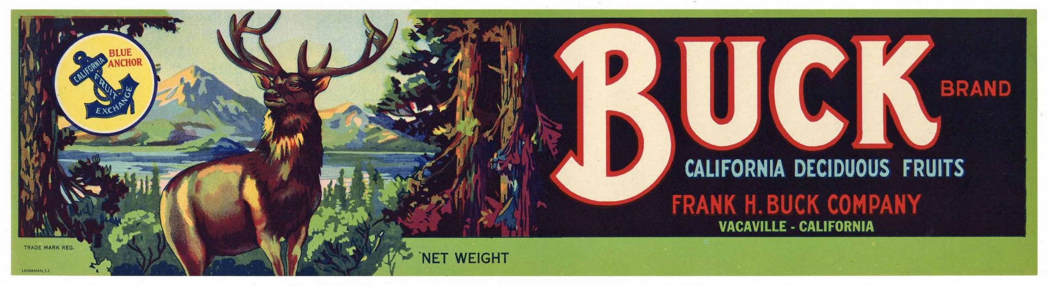Buck Brand Vintage Vacaville Fruit Crate Label
