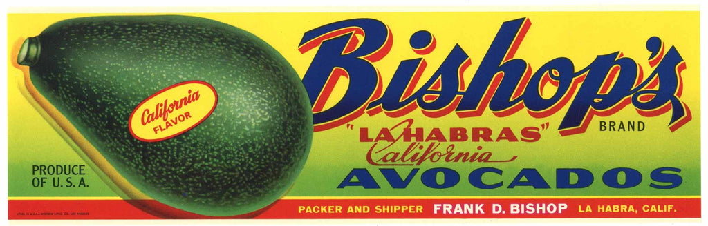 Bishop's Brand Vintage La Habra Avocado Crate Label, n