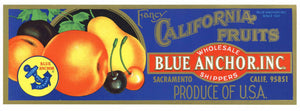 California Fruits Brand Vintage Blue Anchor, Inc. Crate Label, recent