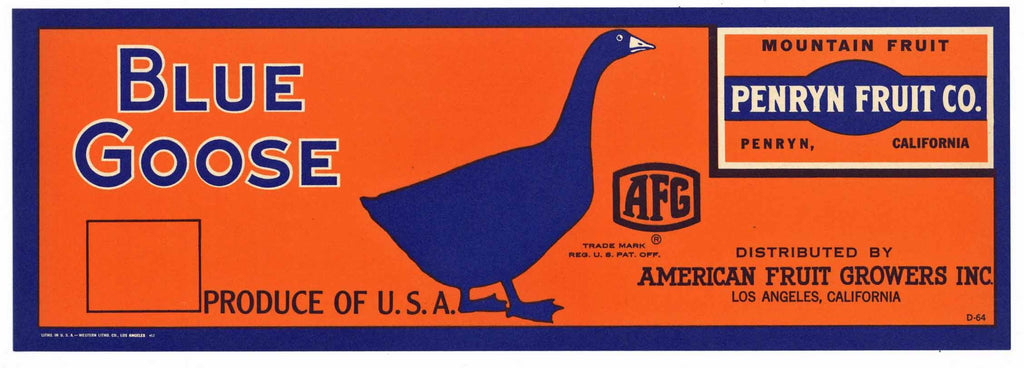 Blue Goose Brand Vintage Placer County Fruit Crate Label