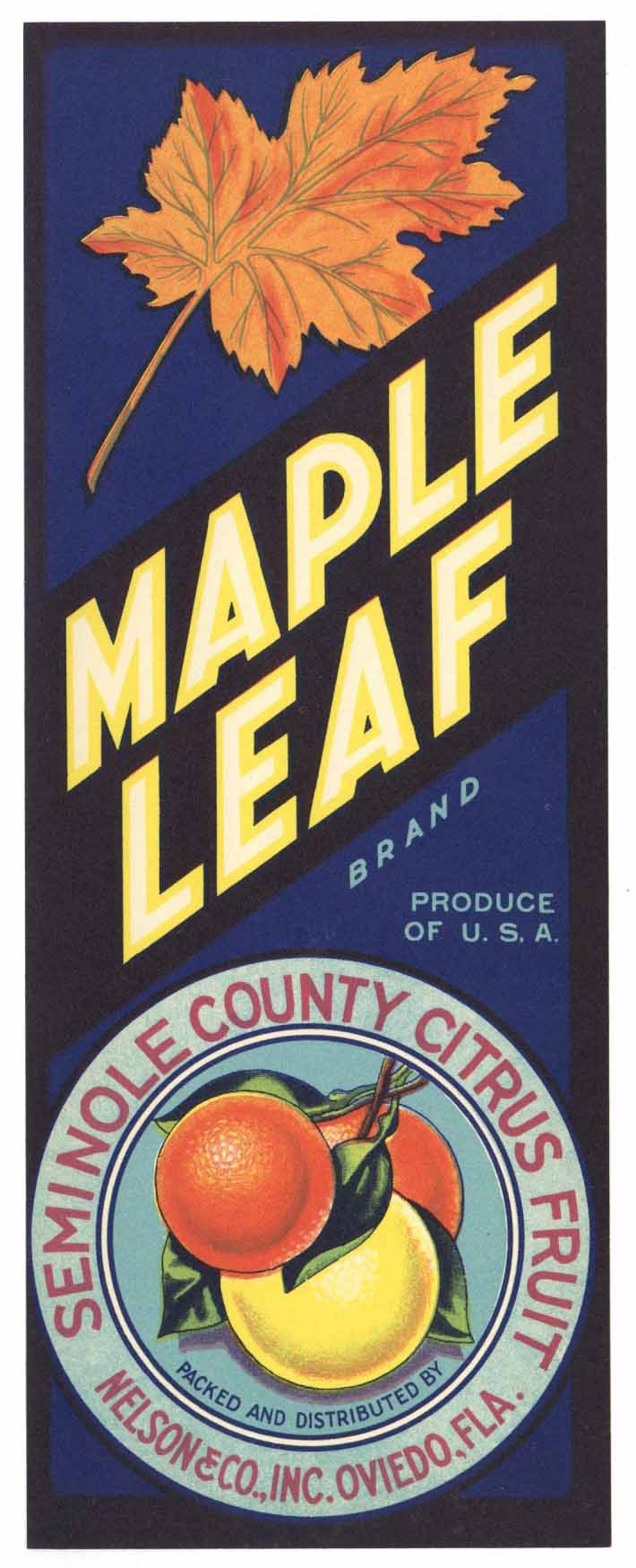 Maple Leaf Brand Vintage Oviedo Florida Citrus Crate Label, V