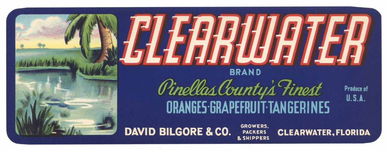 Clearwater Brand Vintage Florida Citrus Crate Label