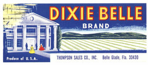 Dixie Belle Brand Vintage Belle Glade Florida Vegetable Crate Label