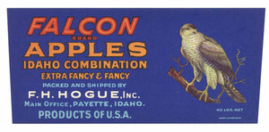 Falcon Brand Vintage Emmett Idaho Apple Crate Label, no border