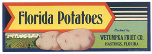 Florida Potatoes Brand Vintage Hastings Florida Vegetable Crate Label
