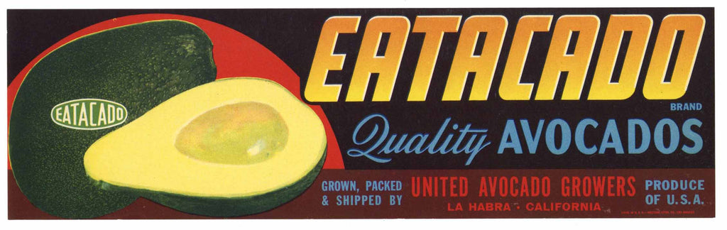 Eatacado Brand Vintage La Habra Avocado Crate Label