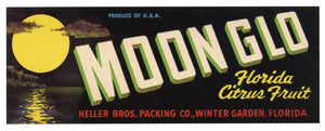 Moon Glo Brand Vintage Winter Garden Florida Citrus Crate Label