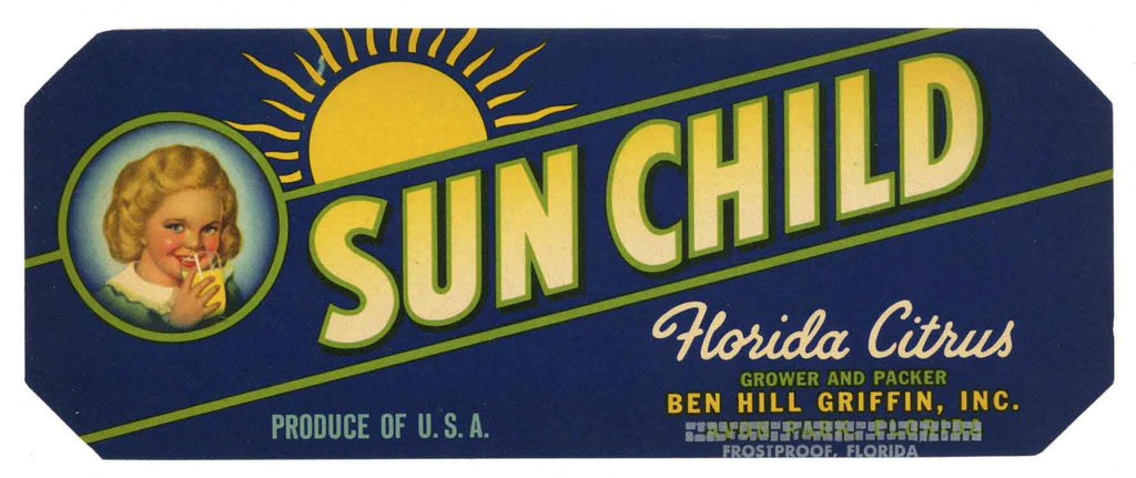 Sun Child Brand Vintage Frostproof Florida Citrus Crate Label