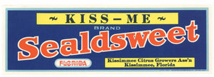 Kiss Me Brand Vintage Kissimmee Florida Citrus Crate Label, Sealdsweet