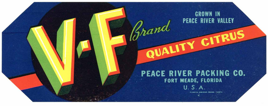 V-F Brand Vintage Fort Meade Florida Citrus Crate Label