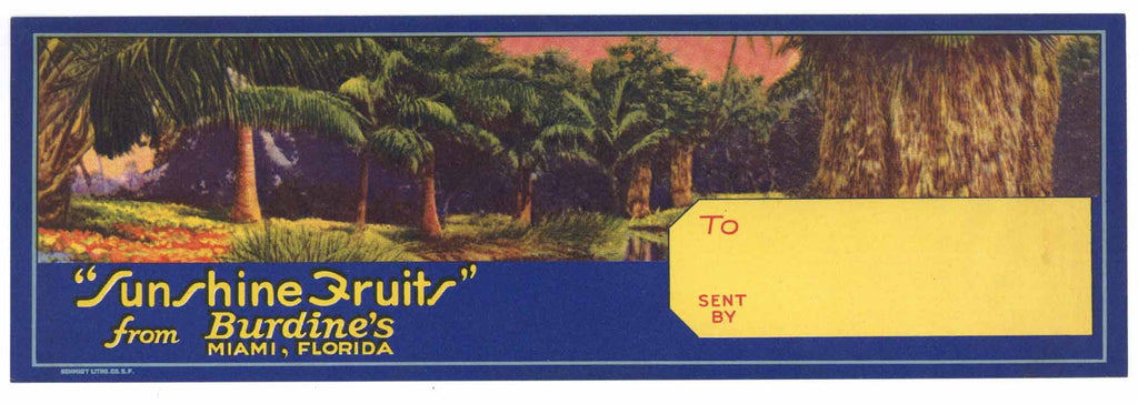 Sunshine Fruits Brand Vintage Miami Florida Citrus Crate Label, s