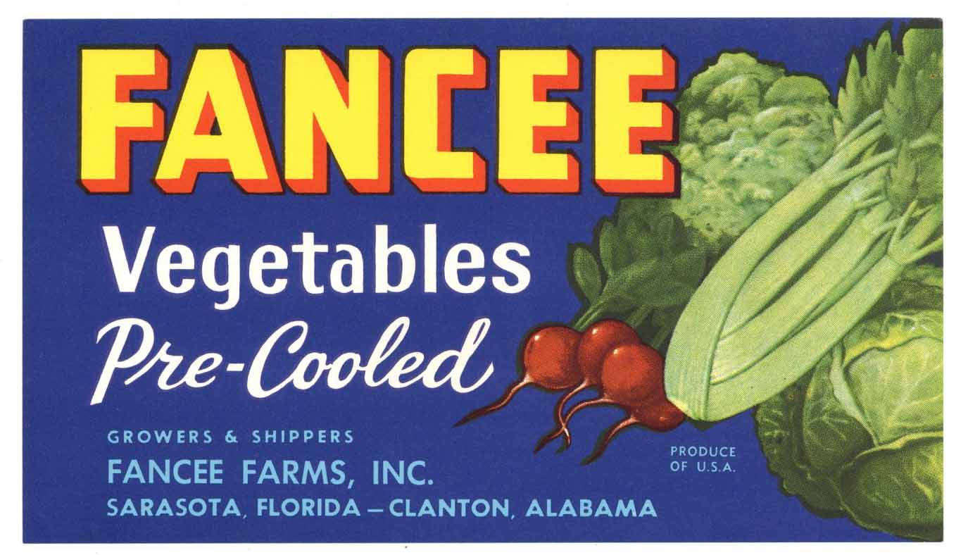 Fancee Brand Vintage Sarasota Florida Vegetable Crate Label