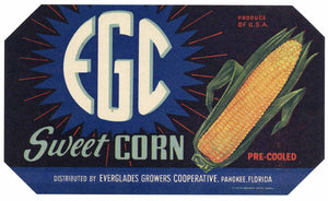 EGC Brand Vintage Pahokee Florida Vegetable Crate Label