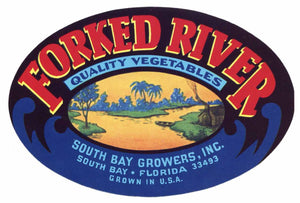 Forked River Brand Vintage South Bay Florida Vegetable Crate Label