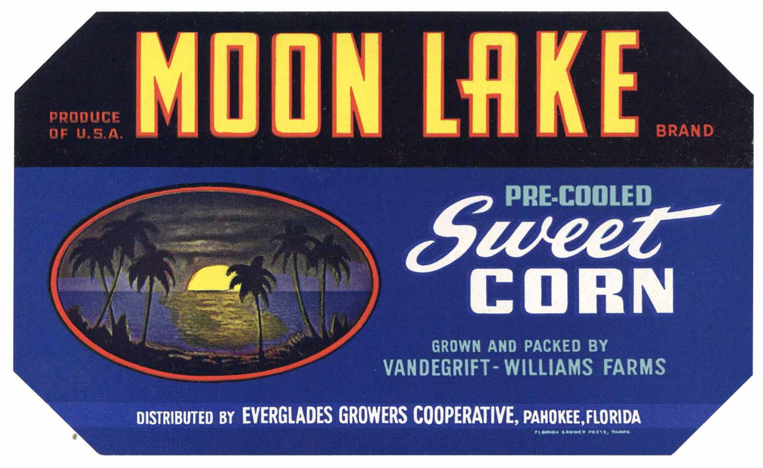 Moon Lake Brand Vintage Pahokee Florida Vegetable Crate Label, corn