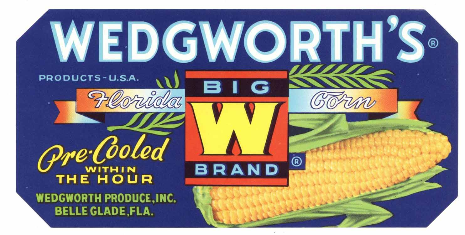 Wedgworth's Brand Vintage Belle Glade Florida Vegetable Crate Label