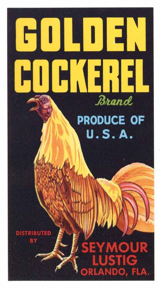 Golden Cockerel Brand Vintage Orlando Florida Crate Label