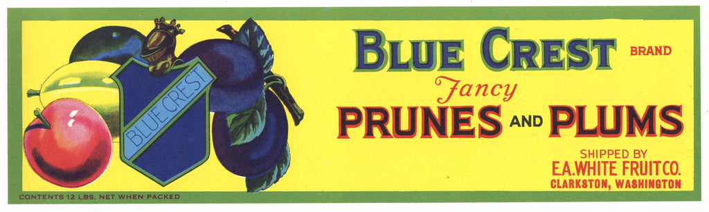 Blue Crest Brand Vintage Clarkston Washington Prune and Plum Crate Label