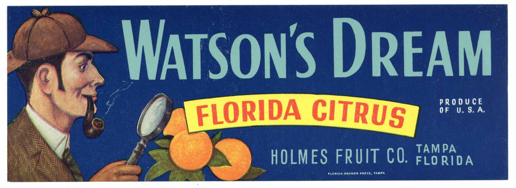 Watson's Dream Brand Vintage Tampa Florida Citrus Crate Label