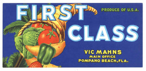 First Class Brand Vintage Pompano Beach Florida Vegetable Crate Label