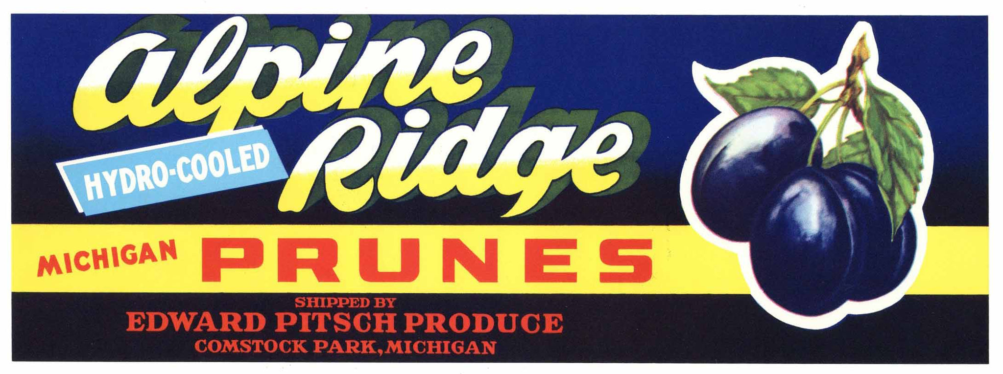 Alpine Brand Vintage Comstock Park Michigan Prune Crate Label