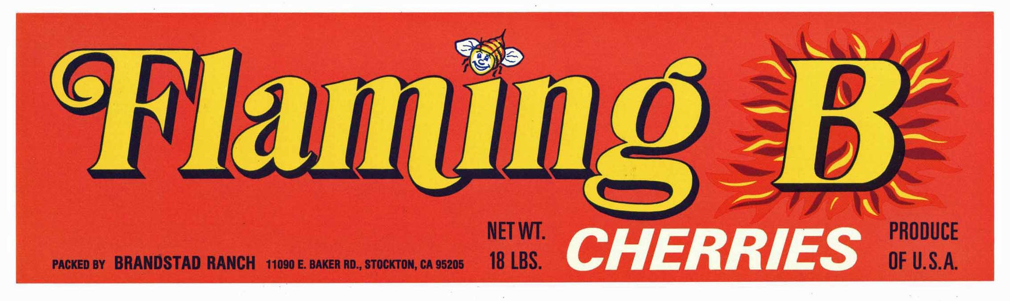 Flaming B Brand Vintage Stockton Cherry Crate Label