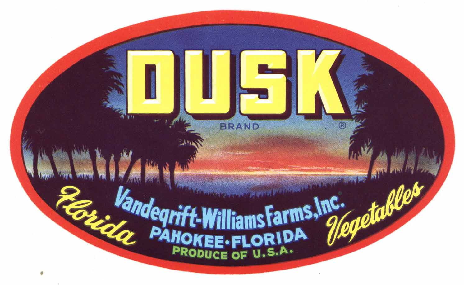 Dusk Brand Vintage Pahokee Florida Vegetable Crate Label