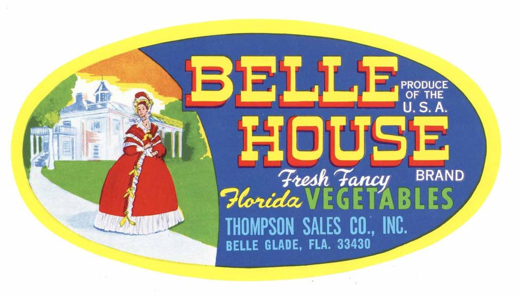 Belle House Brand Vintage Belle Glade Florida Vegetable Crate Label