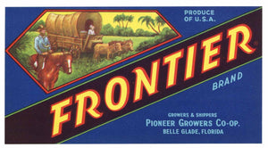 Frontier Brand Vintage Belle Glade Florida Vegetable Crate Label