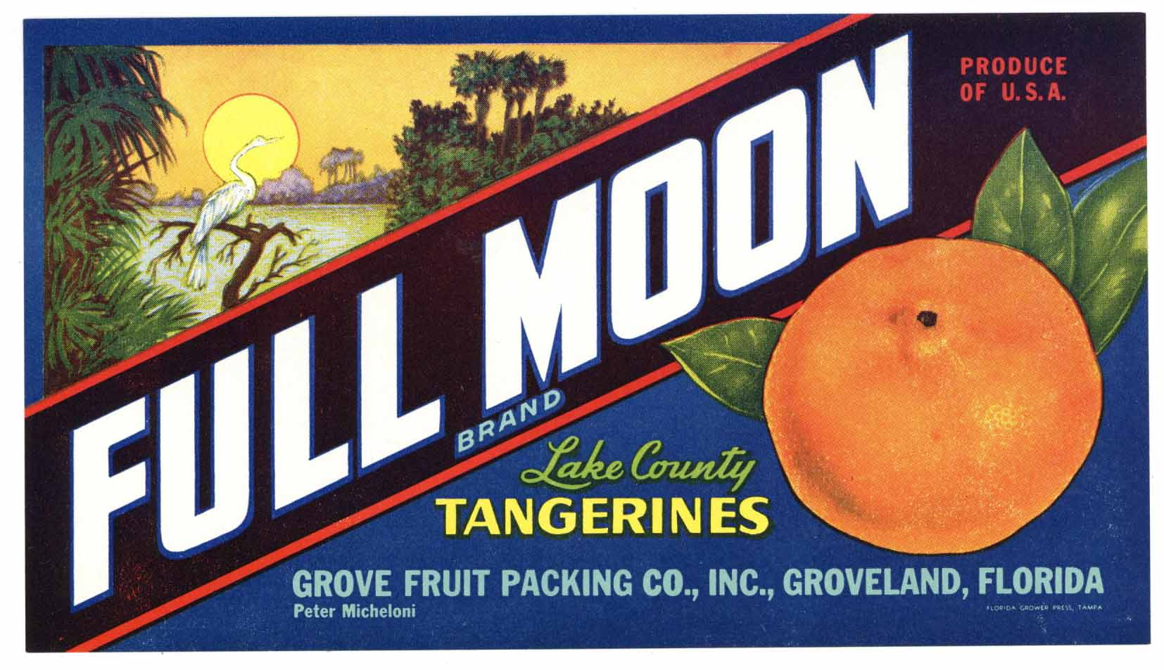 Full Moon Brand Vintage Groveland Florida Citrus Crate Label, n