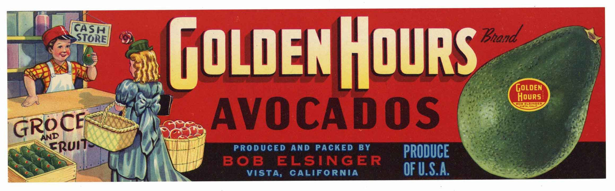 Golden Hours Brand Vintage Vista Avocado Crate Label