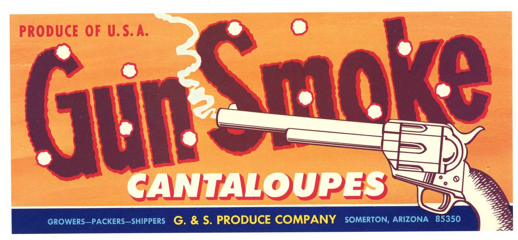 Gun Smoke Brand Vintage Arizona Melon Crate Label