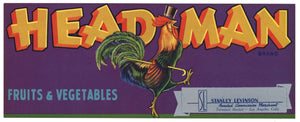 Head Man Brand Vintage Fruits & Vegetables Crate Label
