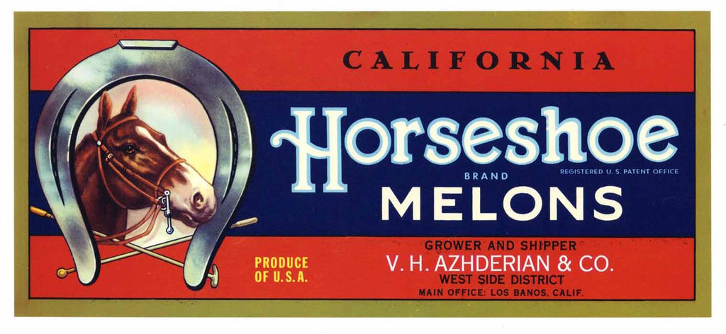 Horseshoe Brand Vintage Melon Crate Label
