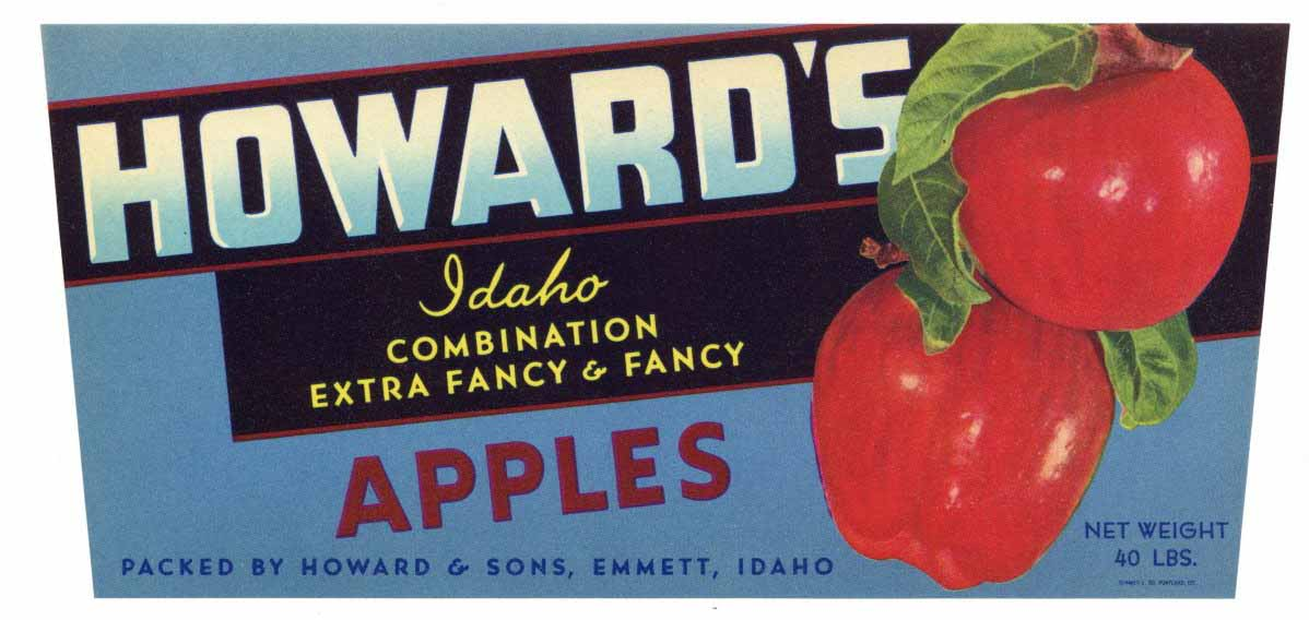 Howard's Brand Vintage Emmett Idaho Apple Crate Label