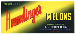 Humdinger Brand Vintage Arizona Melon Crate Label