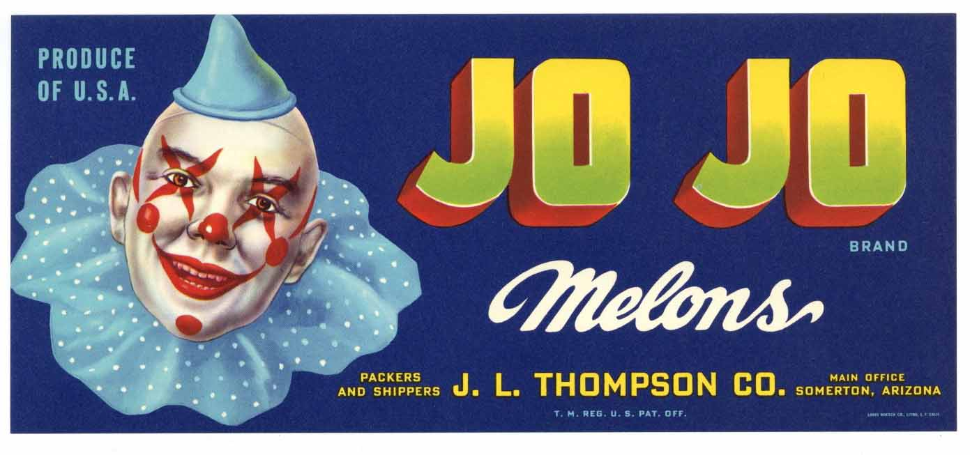 Jo Jo Brand Vintage Arizona Melon Crate Label