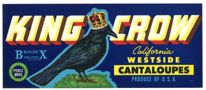 King Crow Brand Vintage Melon Crate Label