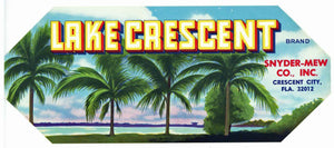 Lake Crescent Brand Vintage Crescent City Florida Citrus Crate Label