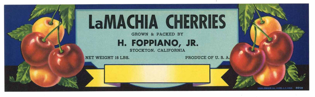 La Machia Cherries Brand Stockton Cherry Crate Label